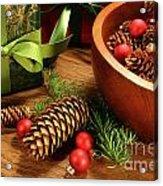Pine Cones And Christmas Balls  Acrylic Print