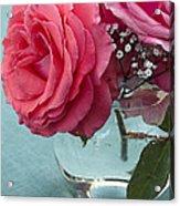 Pink And Aqua Roses Acrylic Print