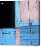 Pink And Blue Shutters Barahona Dominican Republic Acrylic Print