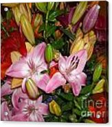 Pink And Color Lilies Acrylic Print