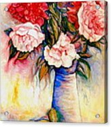 Pink And Red Peony Roses In A Tall Blue Porcelain Vase Acrylic Print