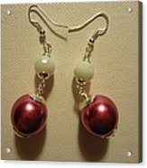 Pink And White Ball Drop Earrings Acrylic Print by Jenna Green