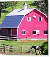 Pink Barn In The Summer Acrylic Print