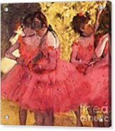 Pink Dancers Before Ballet Acrylic Print by Pg Reproductions