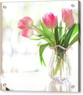 Pink Glass Vase Of Pink Tulips In Window Acrylic Print