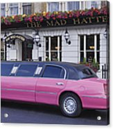 Pink Limo Outside A Pub Acrylic Print