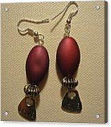 Pink Love Earrings Acrylic Print by Jenna Green