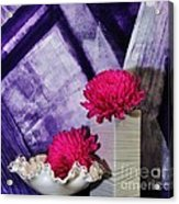 Pink Mums On Purple Acrylic Print