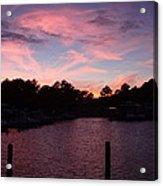 Pink N Blue Sunset On The Chesapeake Bay Va Acrylic Print