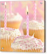 Pink Party Cupcakes Acrylic Print by Amanda Elwell