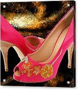 Pink Peeptoe Pumps With Swarovski Crystals Acrylic Print