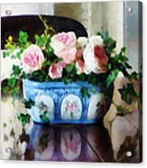 Pink Roses And Ivy Acrylic Print