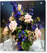 Pink Roses And Purple Delphinium Acrylic Print