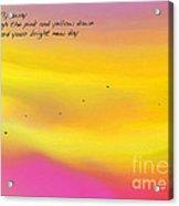 Pink Sky Flight Haiku Acrylic Print by ME Kozdron
