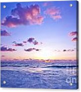 Pink Sunset On The Beach Acrylic Print by Anna Om