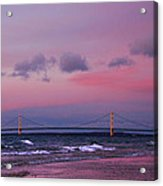 Pink Sunset Over Mackinac Michigan Acrylic Print