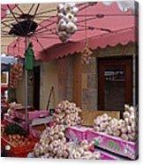 Pink Umbrella And Garlic Acrylic Print