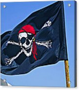 Pirate Flag Skull With Red Scarf Acrylic Print