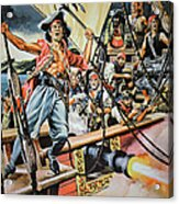 Pirates Preparing To Board A Victim Vessel  Acrylic Print by American School