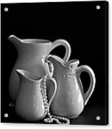 Pitchers By The Window In Black And White Acrylic Print