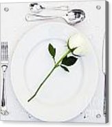 Place Setting With White Rose Acrylic Print
