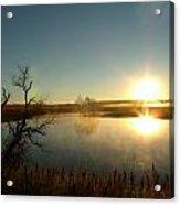 Placid Glass Lake At Dawn Acrylic Print by Brian  Maloney