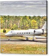 Plane Landing Air Brakes Blur Background Acrylic Print