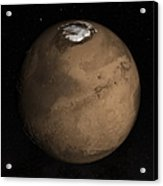 Planet Mars Slightly Tilted To Show Acrylic Print