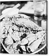 Plate Of Spicy Crab Seafood At A Table In An Outdoor Cafe At Night Kowloon Hong Kong Hksar China Acrylic Print
