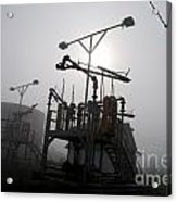 Platforms And Tanks At Petrocor In The Fog Acrylic Print