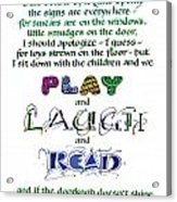 Play Laugh Read Acrylic Print