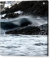playing with waves 2 - A beautiful image of a wave rolling in noth coast of Menorca Cala Mesquida Acrylic Print