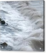 playing with waves 3 - Mediterranean sea foam playing with black stones in cala mesquida - menorca Acrylic Print