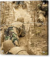 Plebes Navigate The Low Crawl Obstacle Acrylic Print