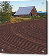 Plow Designs And A Barn Acrylic Print