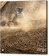 Plowing The Ground Acrylic Print by Mike  Dawson