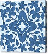 Plumeria Hawaiian Quilt Block Acrylic Print