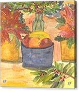 Poinsettias Holly And Table Fruit Acrylic Print