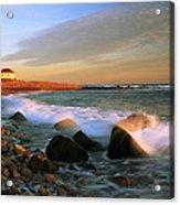 Point Judith Lighthouse Seascape Acrylic Print