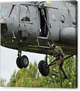 Polish Special Forces Member Fast-ropes Acrylic Print