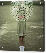 Polka Dotted Umbrella Acrylic Print