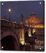 Ponte And Castel Sant' Angelo At Night Acrylic Print