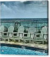 Poolside With A View Acrylic Print by Julie Dant