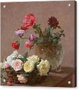 Poppies In A Crystal Vase - Or Basket Of Roses Acrylic Print
