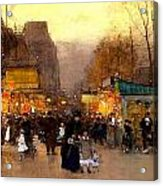 Porte St Martin At Christmas Time In Paris Acrylic Print