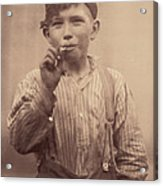 Portrait Of A Boy Smoking, Original Acrylic Print