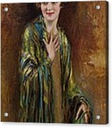 Portrait Of A Girl With A Green Shawl Acrylic Print