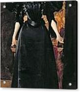 Portrait Of A Lady In Black Acrylic Print by William Merritt Chase