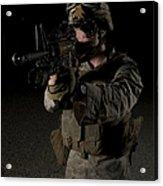 Portrait Of A U.s. Marine Wearing Night Acrylic Print