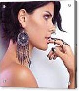 Portrait Of A Woman Wearing Jewellery Acrylic Print